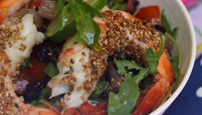 Salade de gambas, agrumes et riz venere